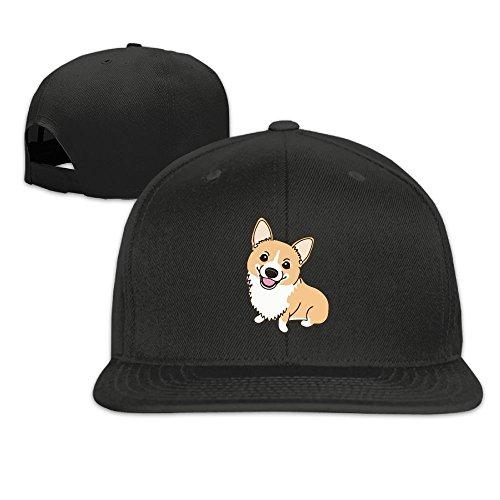 - Adult Trucker Cap, Vintage Corgi Cute Adjustable Hip Hop Flat Bill Baseball Cap