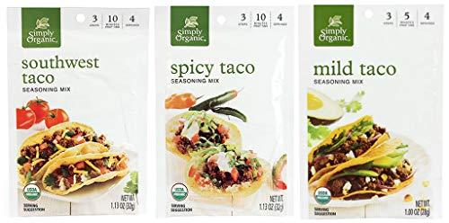 (Organic Taco Seasoning Mix Variety pack: 2 Mild Taco, 2 Spicy Taco, 2 Southwest Taco)