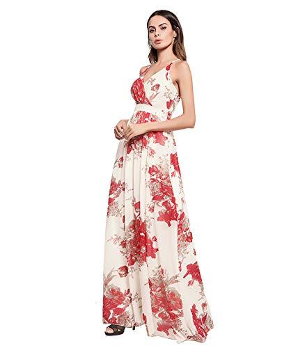 Largo Vestido Vestido Cóctel S 02 Con En Largo De Para De Bohemio Mujer Noche Flores Cuello Con Informal V vaPUgqvT