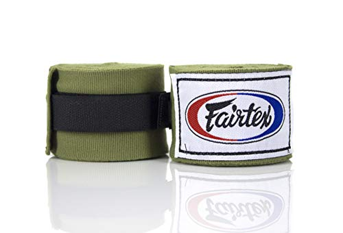 Fairtex Elastic Cotton Handwraps HW2-120 and 180″- Full Length Hand Wraps. Many Colors (Olive Green, 180 inches)