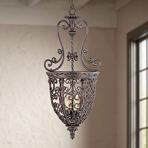French Scroll 15 1 4 Wide Three Light Iron Foyer Chandelier