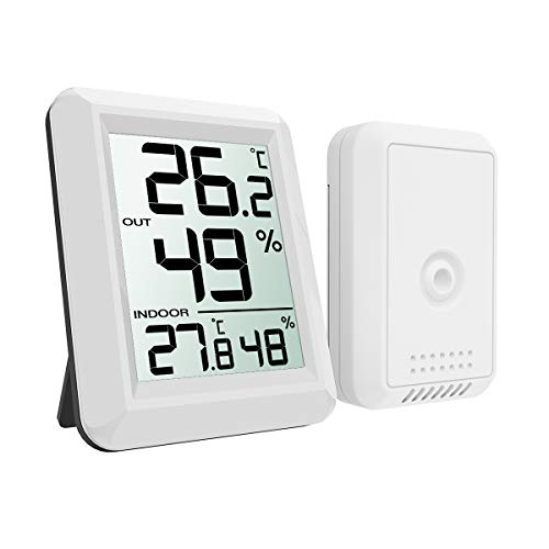 (New Version) AMIR Digital Temperature and Humidity Monitor, Indoor Outdoor Thermometer, Humidity Meter with LCD Screen, Humidity Gauge for Home, Office, Baby Room, etc(Mini, Battery not Included)