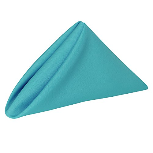 Ultimate Textile (10 Dozen) 20 x 20-Inch Polyester Cloth Dinner Napkins - for Wedding, Restaurant or Banquet use, Turquoise Blue