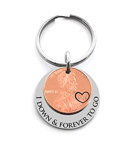 1 Year Anniversary Gift 2018 Penny Good Luck Penny Key Chain Gift For Husband or Wife Wedding Date (Good 1 Year Wedding Anniversary Gifts For Him)