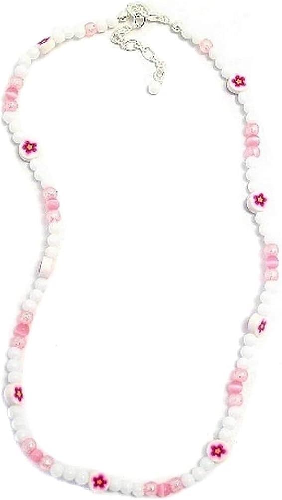 Collar blanco y rosa perlas de flores y purpurina fabricado con resina por Joe Cool