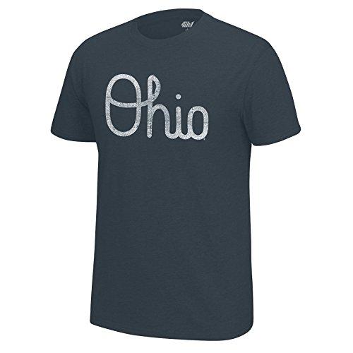 J America NCAA Men's Ohio State Buckeyes Band Script Staple Tee, X-Large, Charcoal Heather