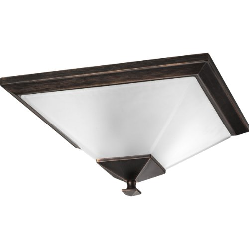 74 Venetian Bronze Finish - Progress Lighting P3852-74 2-Light Close-To-Ceiling with Square Etched Glass, Venetian Bronze