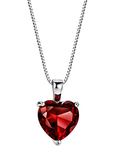 3.6 cttw Rhodolite Garnet Necklace Heart Pendant Sterling Silver January Birthstone Jewelry for Women 16-18 Inches ()