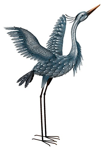 Regal Art & Gift 11778 Metallic Heron-Wings Up Bird Statuary, 47″, Blue Review