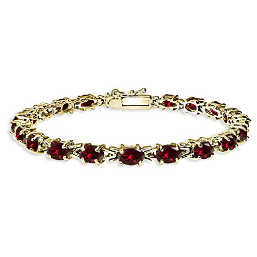 (Yellow Gold Flashed Sterling Silver Polished Created Ruby 6x4mm Oval-cut Link Tennis Bracelet)