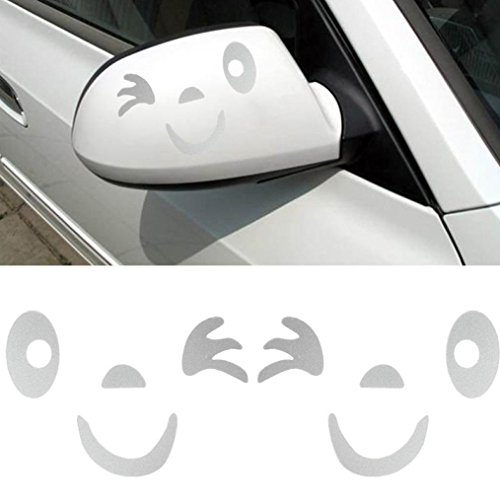 Welcomeuni DIY Car Sticker , Smile Face Design 3D Decoration Sticker For Car Side Mirror Rearview ,White