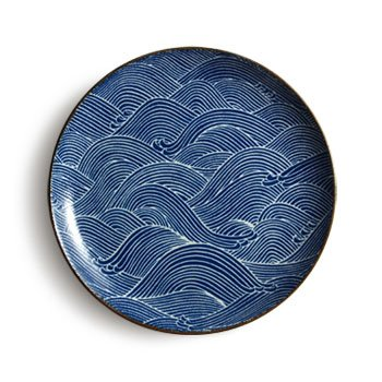 Aranami Blue Wave Dinner Plate (Japanese Stoneware)