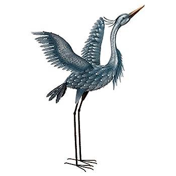 "Regal Art & Gift 11778 Metallic Heron-Wings Up Bird Statuary, 47"", Blue"