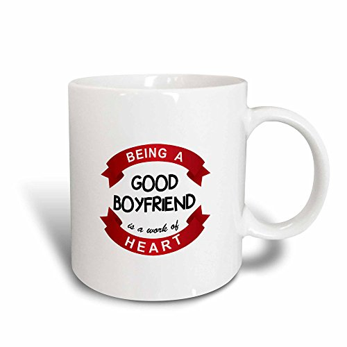 3dRose mug_183893_3 Being a Good Boyfriend Is a Work of Heart Romantic Red Bf Quote Gift Magic Transforming Mug, 11-Ounce