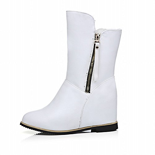Carolbar Womens Fashion Multi Zipper Comfort Warm Wedge Heel Snow Short Boots White qEUl3tp