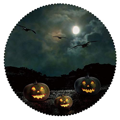 iPrint Beautiful Round Tablecloth [ Halloween,Yard of an Old House at Night Majestic Moon Sky Creepy Dark Evil Face Pumpkins Decorative,Multicolor ] Home Accessories Set for $<!--$131.42-->
