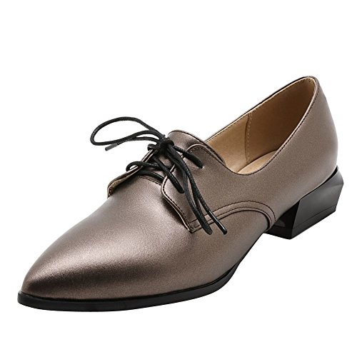 Show Shine Womens Casual Lacing Up Point Toe Oxfords Shoes Taupe IHZSXWuO2