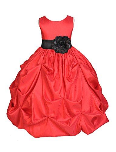 Red Satin Taffeta Pick-Up Bubble Flower Girl Dress Graduation Dress 301S L