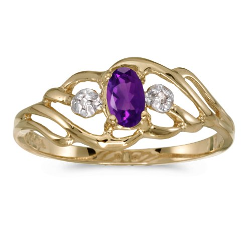 10k Yellow Gold Oval Amethyst And Diamond Ring. Size 8 (Gold Oval Amethyst)