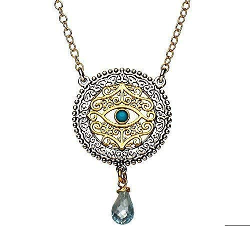 Evil Eye Necklace With Turquoise in Gold and 925 Sterling Silver Jewelry | Alef Bet by Paula ()