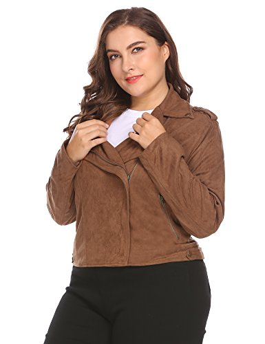 INVOLAND-Womens-Plus-Size-Turn-Down-Collar-Zip-Up-Solid-Faux-Suede-Cropped-Casual-Short-Jacket