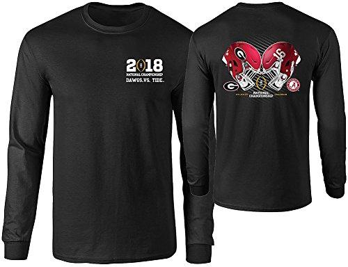 Georgia Bulldogs National Championship - Elite Fan Shop Georgia vs Alabama 2018 CFP National Championship Long Sleeve TShirt Black Helmet - M