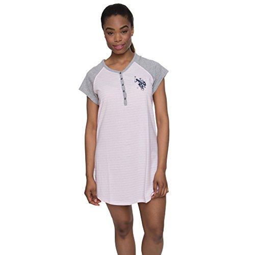 U.S. Polo Assn. Womens Nightgown Short Sleeve V-Neck Sleepwear Nightshirt Pink Daisy Large