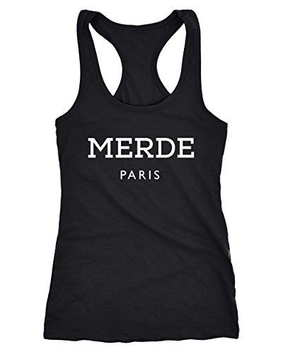 MoonWorks Freches Damen Tank-Top Shirt Merde Paris Racerback Schwarz