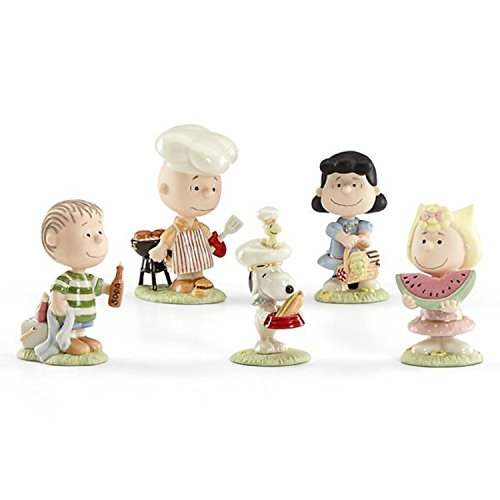 Lenox Peanuts Summer Barbecue Party Figurines 5 PC Charlie Brown Snoopy Lucy