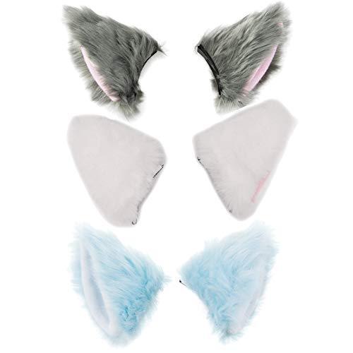 BAOBAO Cat Fox Long Fur Ears Hair Clip Headwear Cosplay Halloween Costume (3pcs(Grey&Pink+White+Blue)) ()