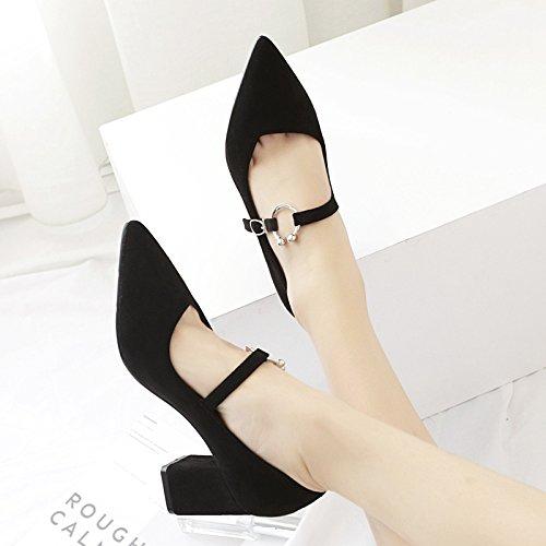 scarpe 38 finitura nero Grossolana i in con tacchi metallo con donne fibbia alti satinata punta scarpe singoli qanatXr5
