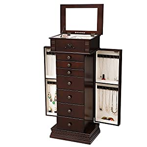 SONGMICS Large Jewelry Armoire Cabinet Standing Storage Chest Neckalce Organizer Dark Walnut UJJC14K