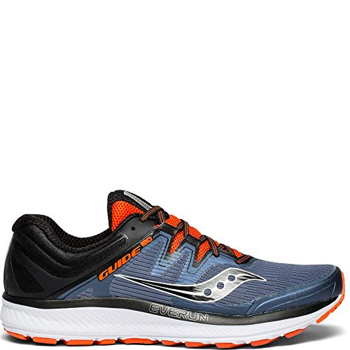 Saucony Men's Guide ISO Sneaker, Grey/Black/Orange, 100 M US
