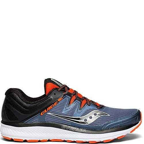 Saucony Men's Guide ISO Sneaker, Grey/Black/Orange, 105 M US