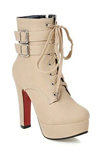 Damen Winterstiefel Warm Gefüttert Plateau High Heels Runde Ankle Boots Schnürsenkel Halbschaft Stiefeletten Beige