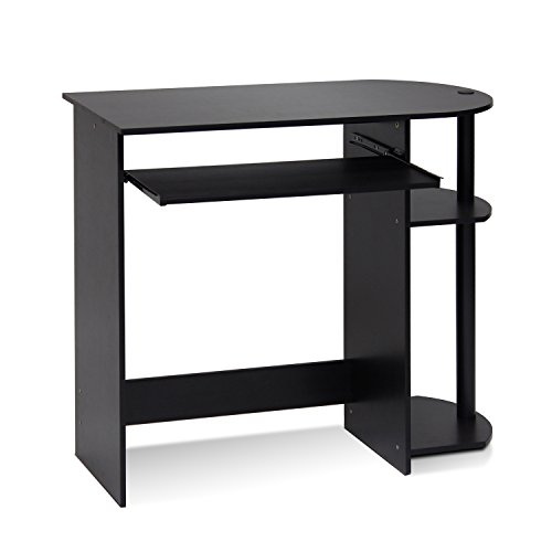 Furinno Simplistic Easy Assembly Computer Desk, With Keyboard Tray, Espresso/Black