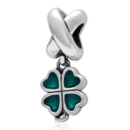 Choruslove Green Irish Shamrock Lucky 4 Leaf Clover Charm 925 Sterling Silver Dangle Enamel Bead - Irish Enamel Charm