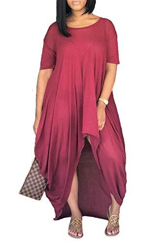 Remelon Women Short Sleeve Loose Fit Ruched High Low Asymmetrical Swing T Shirt Long Maxi Dress Wine XL