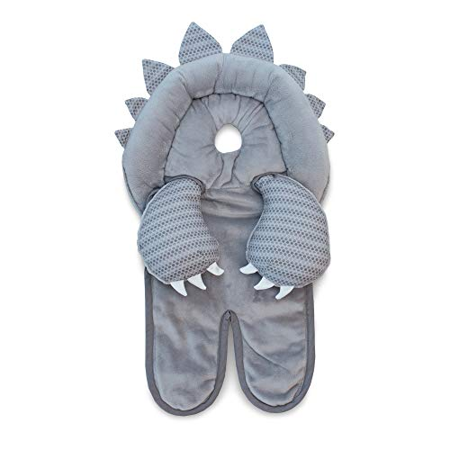 Boppy Preferred Head and Neck Support, Gray Dinosaur, Minky Fabric, Car Seat Head Support for Infants