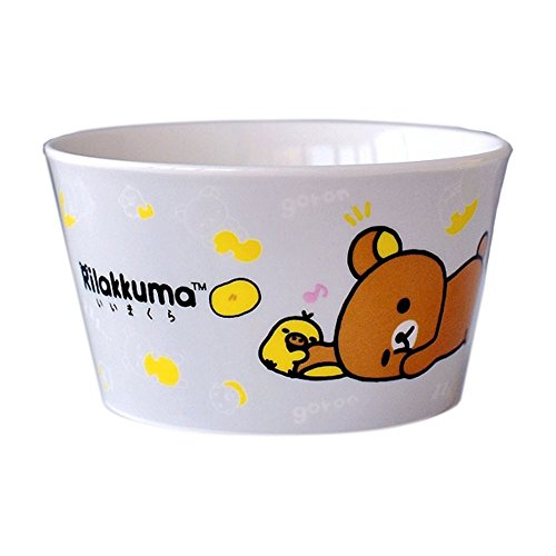 Cute Cartoon Animal Pattern Creative Ceramic Wide Spout Rice Bowl Teddy Bear Design Cereal Bowl Soup Bowl Porcelain Hand Painted Dessert Bowl for Salad Fruit for Kids(Blue,Yellow,White,Grey) by LYNK HOME