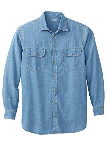 Boulder Creek Men's Big & Tall Long-Sleeve Denim Shirt, Bleach Denim - Bleach Denim