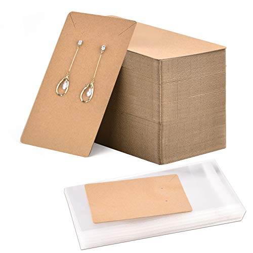 Coopay 120 Pieces Earrings and Necklace Display Cards with 120 Self-Sealing Bags Earring Card Holder, Earring Display Cards for Ear Studs, Earrings, Necklaces, Brown Color, 3.5x2.4inch