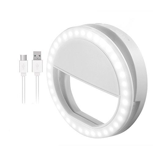 Selfie Ring Light, Clip-on LED Camera Light, Rechargeable 36 LED Fill-light, 3-Level Adjustable Brightness On-Camera Video Lights Night Light for iPhone, iPad, Samsung Galaxy Phones and Laptop Webcams