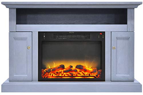 Cheap CAMBRIDGE Sorrento Electric Fireplace with an Enhanced Log Display and 47 in. Entertainment Stand in Slate Blue Black Friday & Cyber Monday 2019