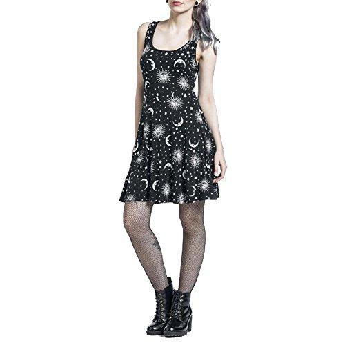 Tidos Women Backless Dress Punk Rock Fashion Sun Moon Star Printing Black Gothic (Mini Skirt Big Star)