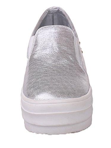 Amoonyfashion Mujeres Pu Round-toe Low-heels De Tacón Bajo Sólido-zapatos De Plata