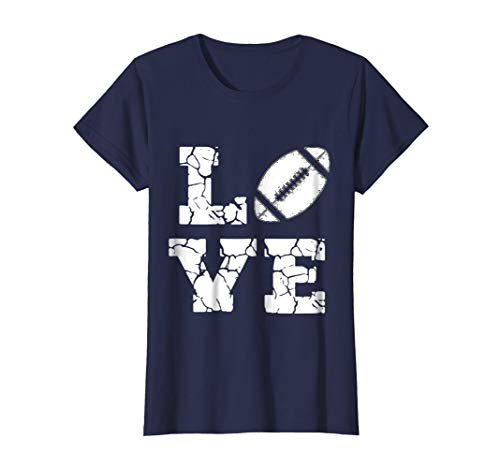 - Womens I Love American Football Game Player T shirt Tee - Mom Dad Large Navy