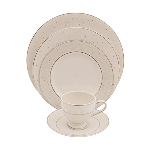 SHINEPUKUR 5 Piece Silver Palace Ivory China Place (Palace Dinnerware Collection)