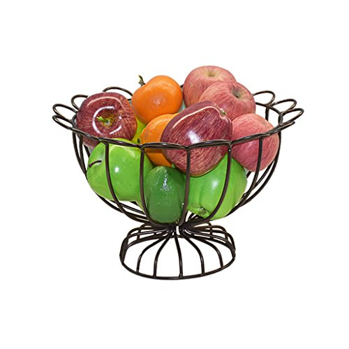 LPYMX Fruit Bowl Wrought Iron Fruit Basket Kitchen Vegetable Storage Rack KTV Office Fruit Plate (Color : Bronze)
