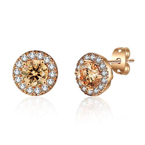 MAJESTY Synthetic Diamond Stud Earrings for Women Teen Girls Halo Stud Earrings for Women CZ Stud EarringsRose Gold Plated Bridesmaid Earrings